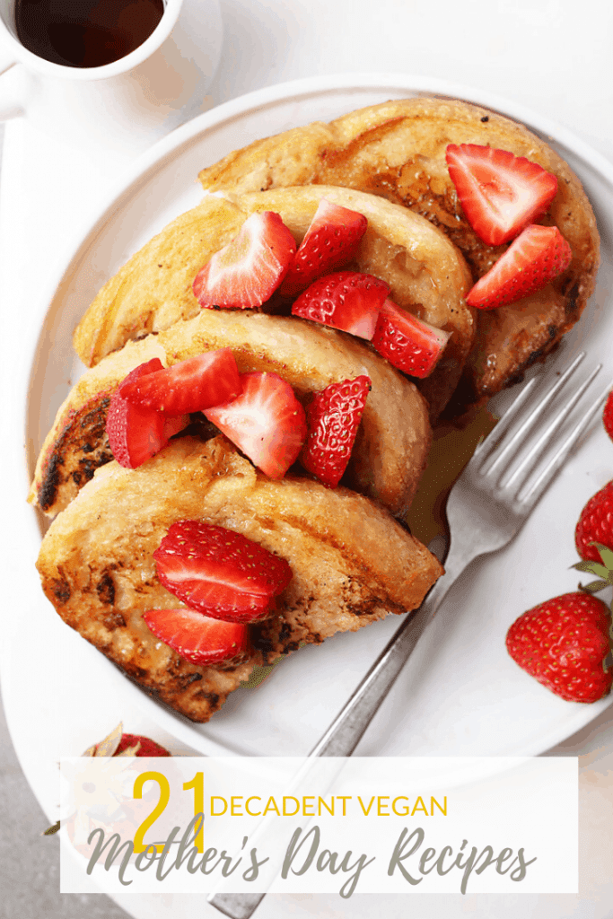 French toast with freshly sliced strawberries