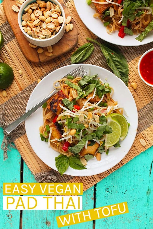 A classic Thai dish, vegan Pad Thai is made with rice noodles, fresh vegetables and herbs, and perfectly crispy tofu for an easy 40-minute gluten-free meal the whole family will love. #vegan #veganrecipes #veganpadthai #padthai #vegandinner