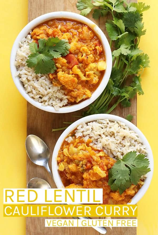 This vegan Red Lentil Cauliflower Curry is a spiced Indian Curry made with lentils and cauliflower for a delicious gluten-free and plant-based meal. #vegan #veganglultenfree #veganrecipes #curry #cauliflower #vegandinners