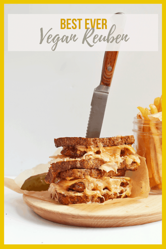 You're going to love this Vegan Tempeh Reuben! It is made with marinated and grilled tempeh, homemade Russian Dressing, and seeded rye bread for a saucy and delicious classic vegan sandwich.
