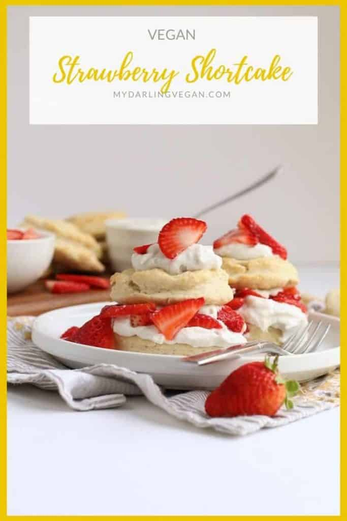 This simple Vegan Strawberry Shortcake is made with cream biscuits, fresh strawberries, and coconut whipped cream for an easy springtime dessert.