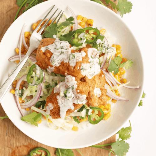 Vegan Fish Taco Bowls in a white bowl