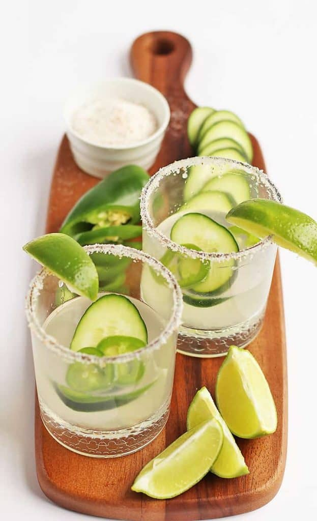 Two margaritas with fresh lime