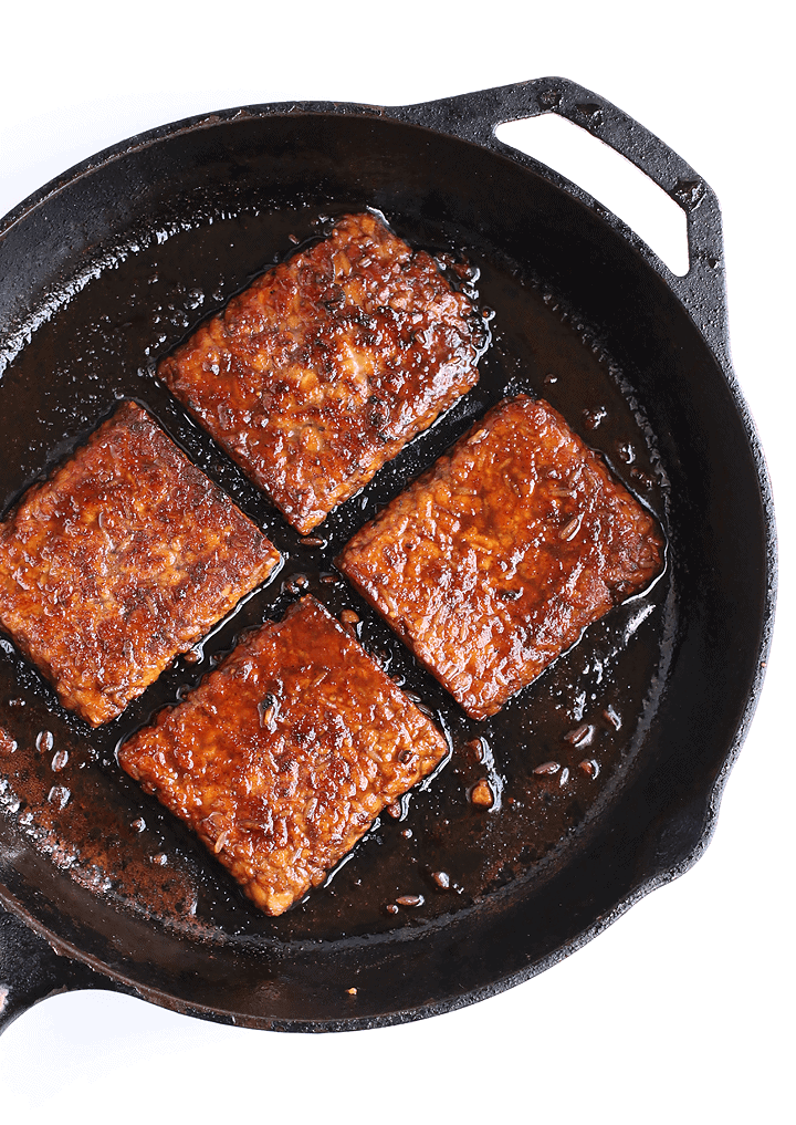 Marinated and grilled tempeh cut into squares