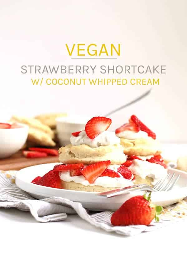 This simple Vegan Strawberry Shortcake is made with cream biscuits, fresh strawberries, and coconut whipped cream for an easy springtime dessert. #vegan #vegetarian #strawberry #dessert #summertime #veganrecipes #dessertrecipes #mydarlingvegan