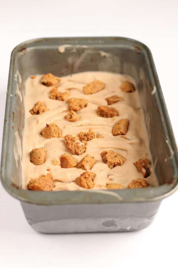 Finished ice cream in a loaf pan
