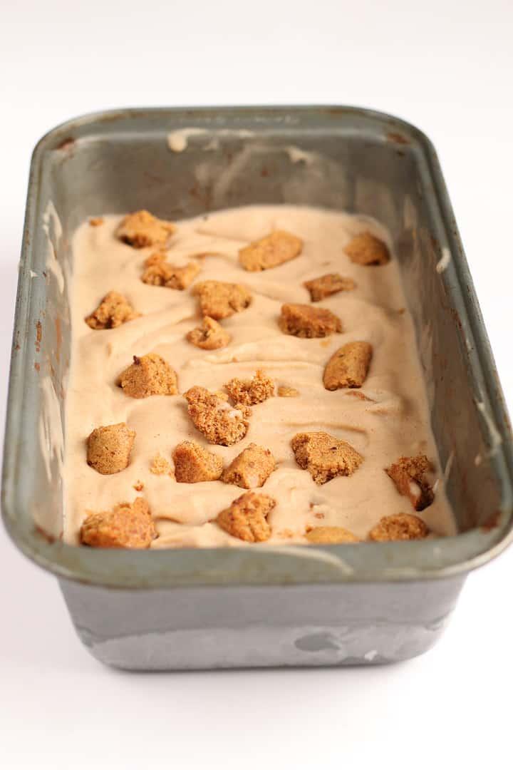 Vegan Snickerdoodle Ice Cream in loaf pan