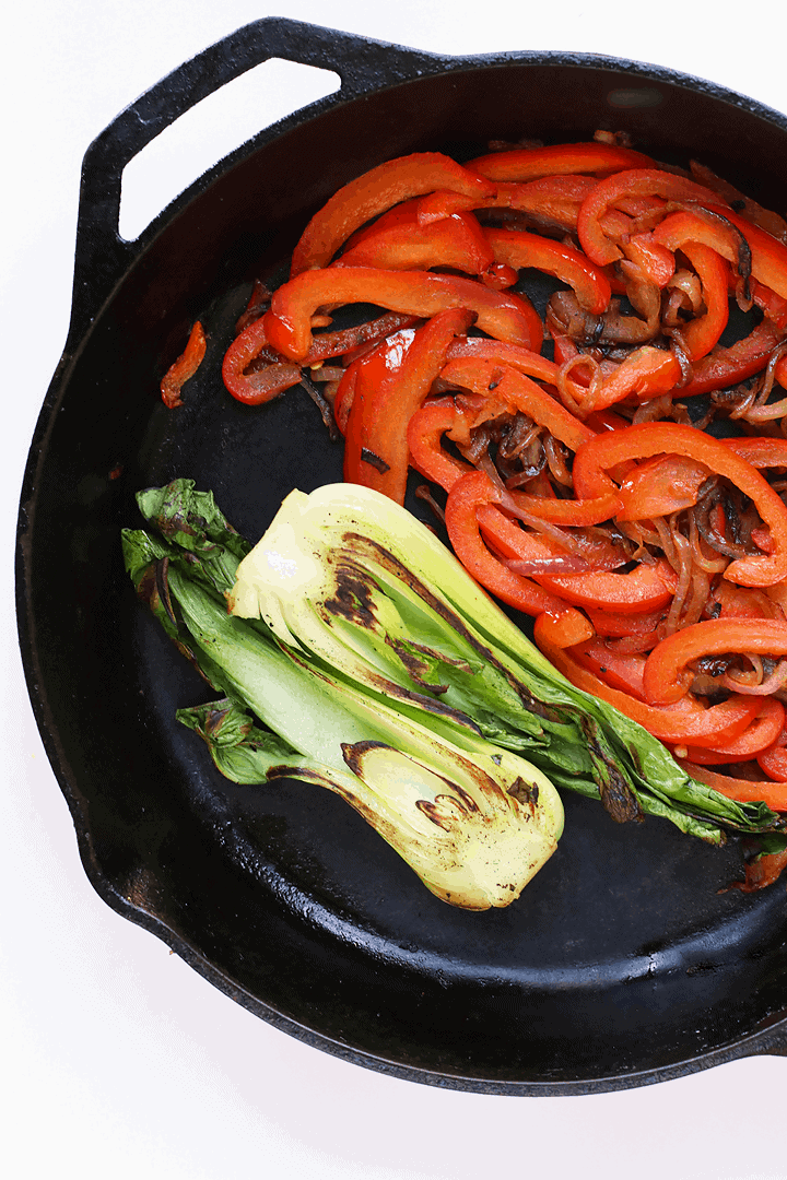 Sautéed peppers and Bok Choy