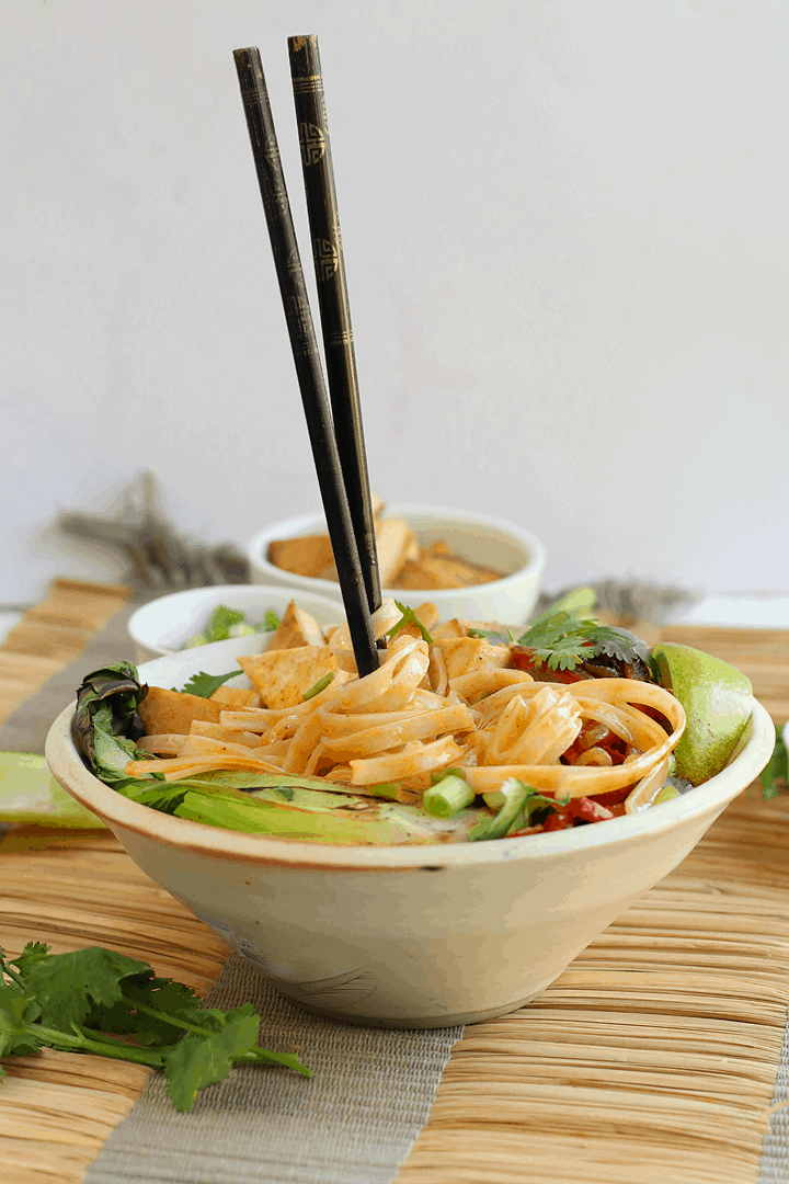 Vegan Thai Red Curry with chopsticks