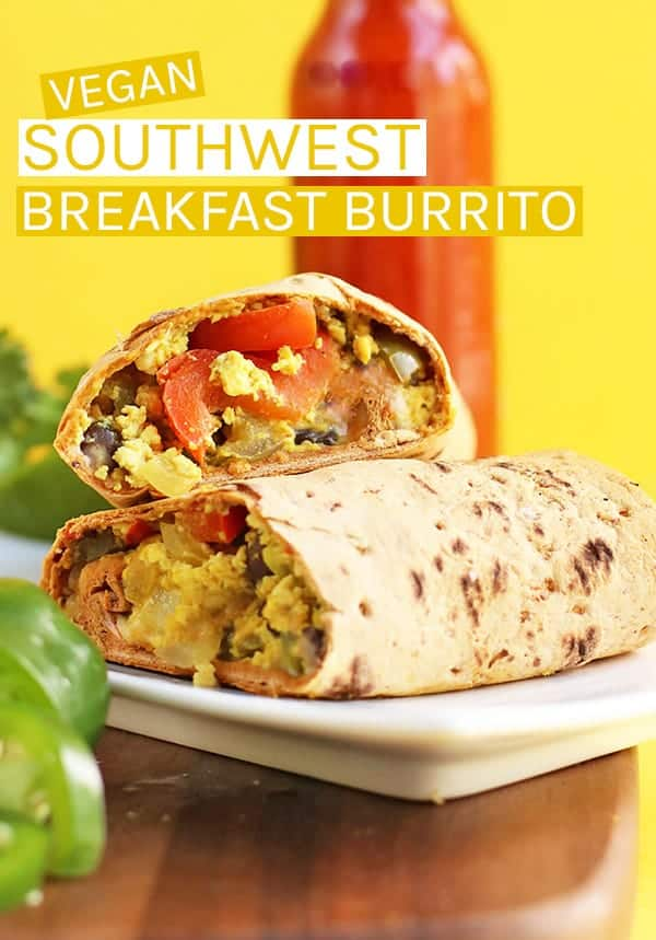 This Southwest Vegan Breakfast Burrito is loaded with protein and vegetables and filled with flavor for a healthy, delicious breakfast. #vegan #veganburrito #veganbreakfast #veganrecipes #breakfastburrito