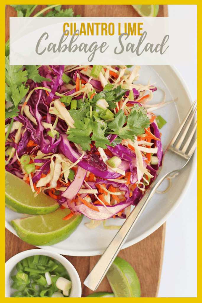 This Cilantro Lime Vegan Cabbage Salad is made with shredded white and purple cabbage and carrots then dressed with a sweet cilantro lime dressing.