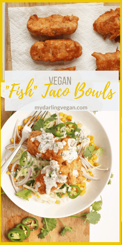 "This Vegan Fish Tacos bowl is made with beer-battered vegan ""fish"", fresh Baja cabbage slaw, seasoned corn, and creamy Baja sauce for a meal everyone will love."