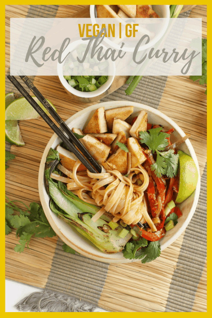 This Thai Red Curry is made with crispy tofu, sautéd red peppers and bok choy, and rice noodles, all covered in a creamy coconut red curry sauce for a delicious vegan and gluten-free weeknight meal.