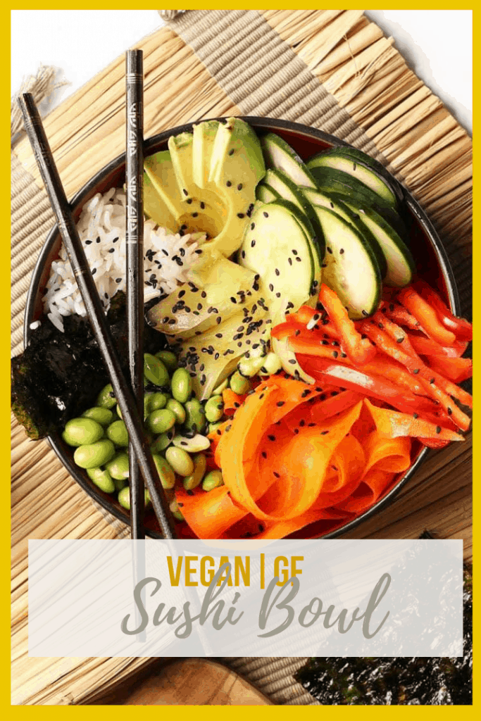 This vegan sushi bowl is made with quick pickled carrots and cucumbers, avocado, and edamame, all tossed in sesame soy dressing and served over rice. Made in just 30 minutes for a delicious vegan and gluten-free meal.