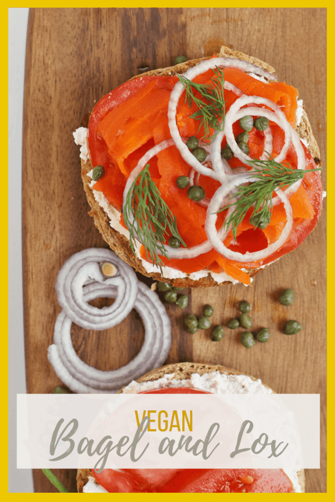 This vegan lox sandwich is made with roasted and marinated carrots, cream cheese, capers, and fresh dill for a delicious breakfast sandwich.