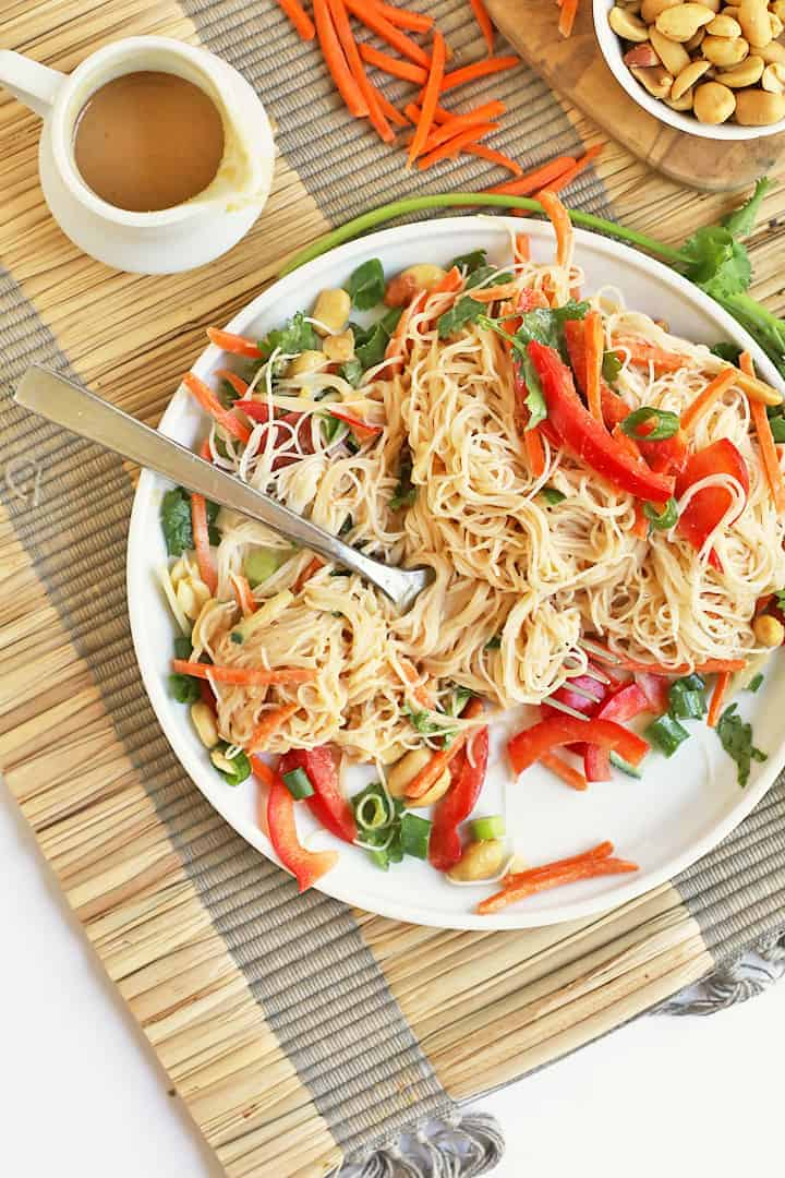 Vermicelli Noodle Salad on white plate