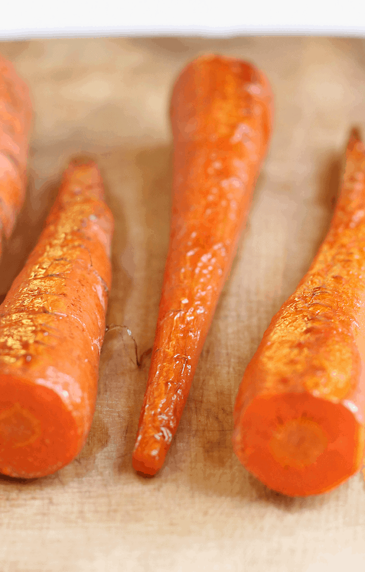 Roasted Carrots on cutting board
