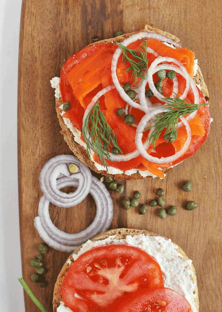 Bagel and Carrot Lox open-faced sandwich