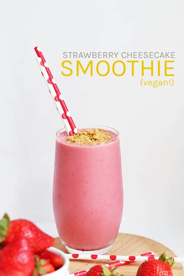 This Strawberry Cheesecake Smoothie is made with frozen strawberries and bananas and vegan cream cheese for a decadent morning treat.