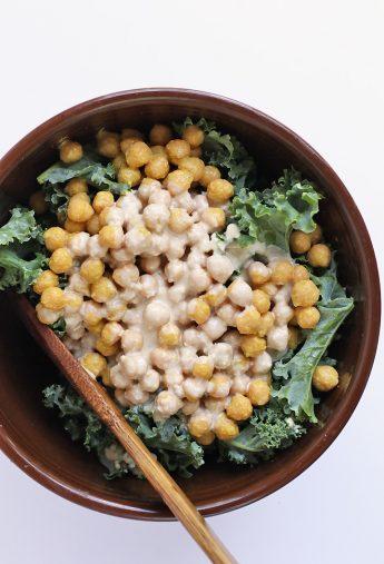 Lemon Tahini Kale Salad with Cheesy Chickpeas