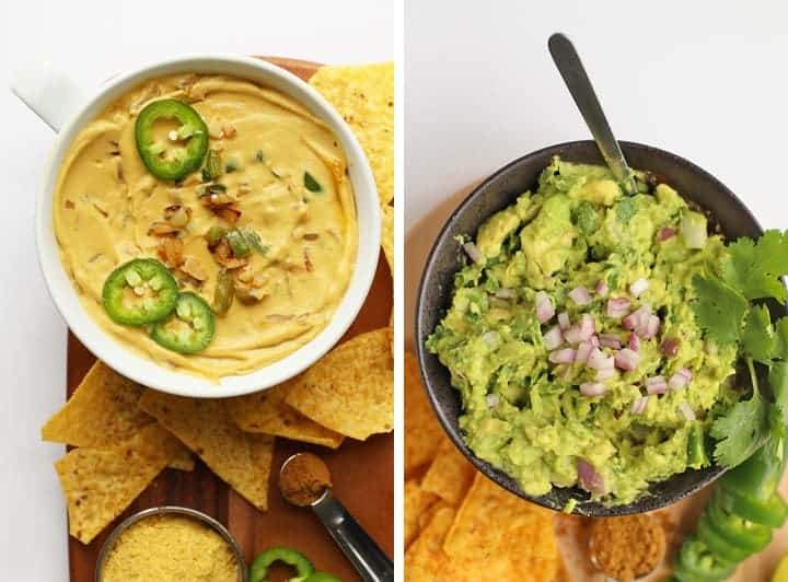 Vegan Queso and homemade guacamole