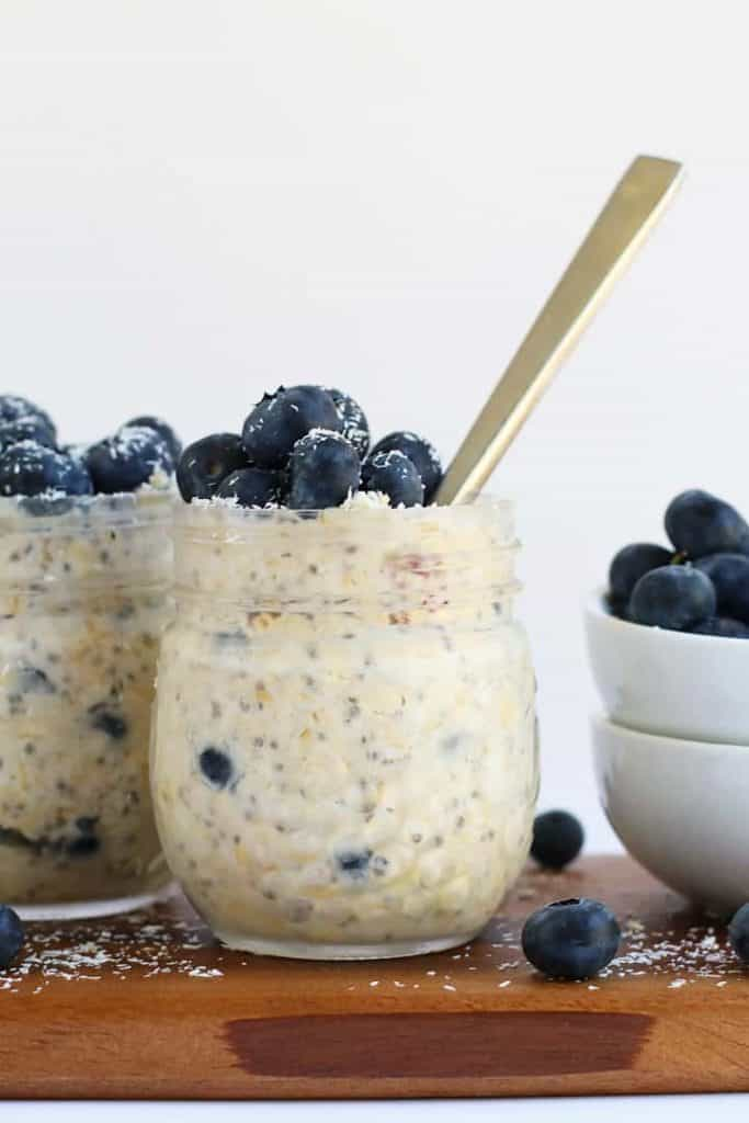 Finished oats with fresh blueberries