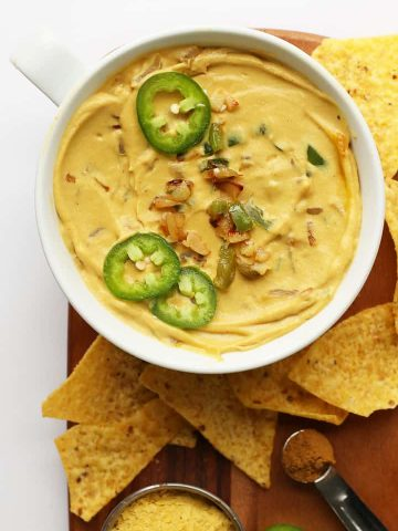 Finished vegan queso in a white bowl