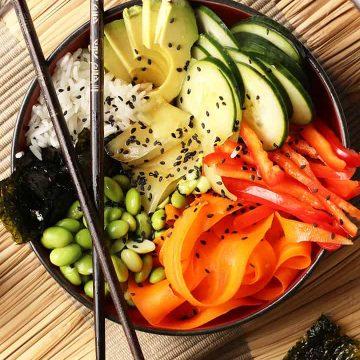 Finished sushi bowl with chopsticks