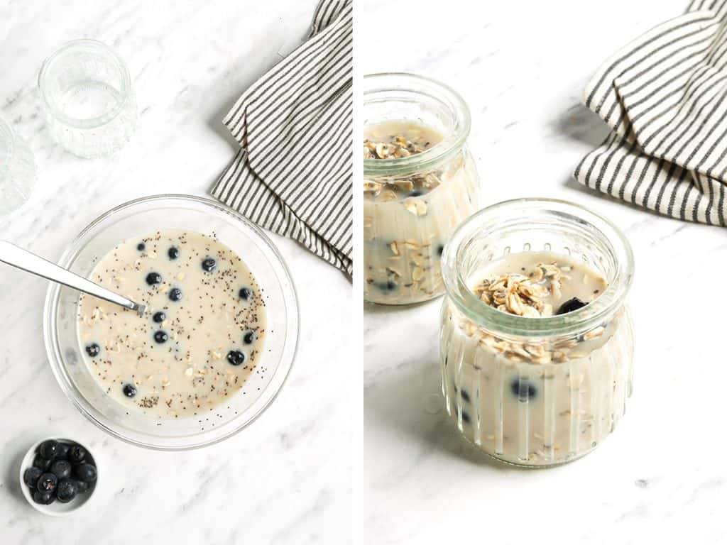 Overnight oats poured into glass oat jars and topped with blueberries.