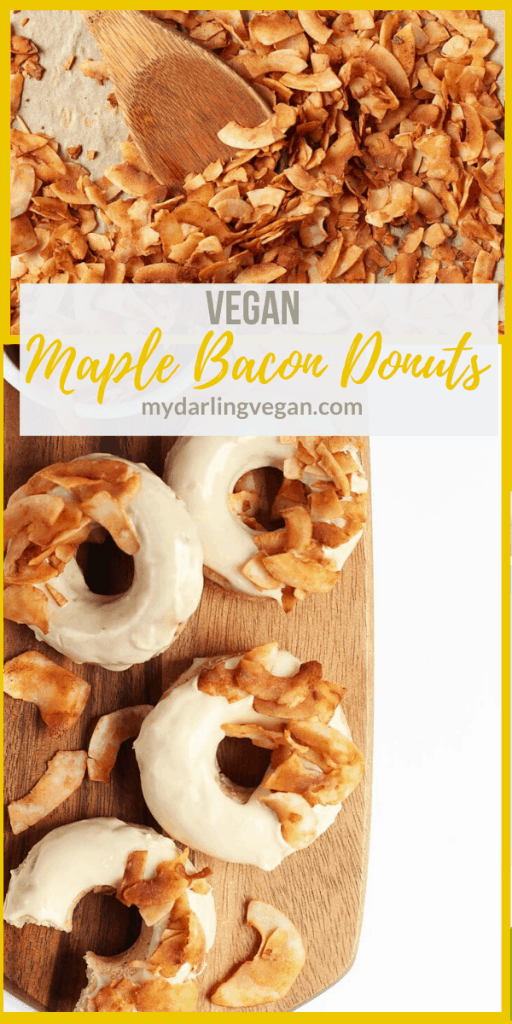 Vegan Maple Bacon Doughnuts! These amazing doughnuts are lightly spiced and baked to perfection. Finished them off with a sweet maple glaze and crispy coconut bacon for a delicious morning pastry.