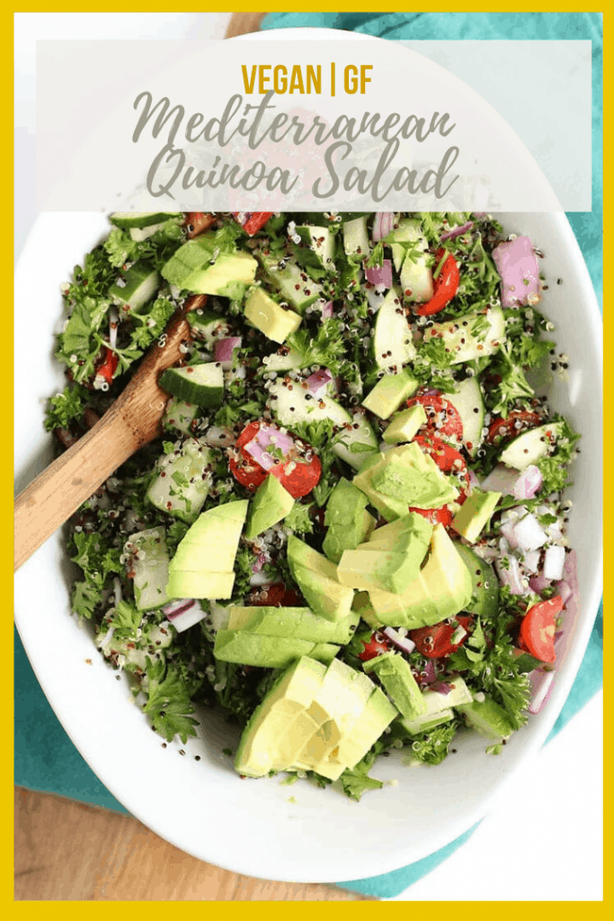 This Mediterranean Quinoa Salad is made with fresh herbs and vegetables and topped with a lemon dressing for a refreshing and hearty summertime salad.