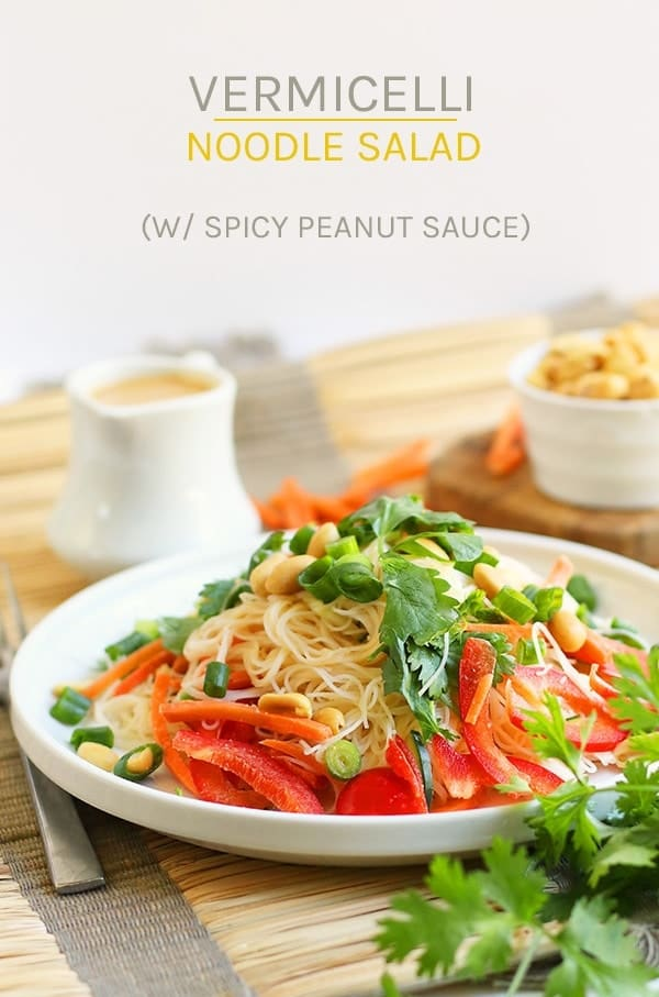 This Asian Vermicelli Noodle Salad is filled with fresh vegetables and topped with a spicy ginger peanut sauce for a delicious vegan and gluten-free meal. #vegan #vegetarian #glutenfree #salad #vermicellinoodles #noodlesalad #healthyrecipes #peanutsauce #mydarlingvegan
