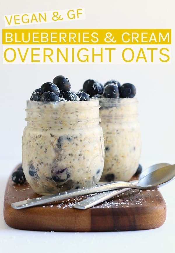 These Blueberry Overnight Oats are made with a blend of coconut and almond milk for a sweet, refreshing, and creamy grab-n-go breakfast. #overnightoats #blueberries #vegan #healthy #healthyrecipes #veganbreakfast