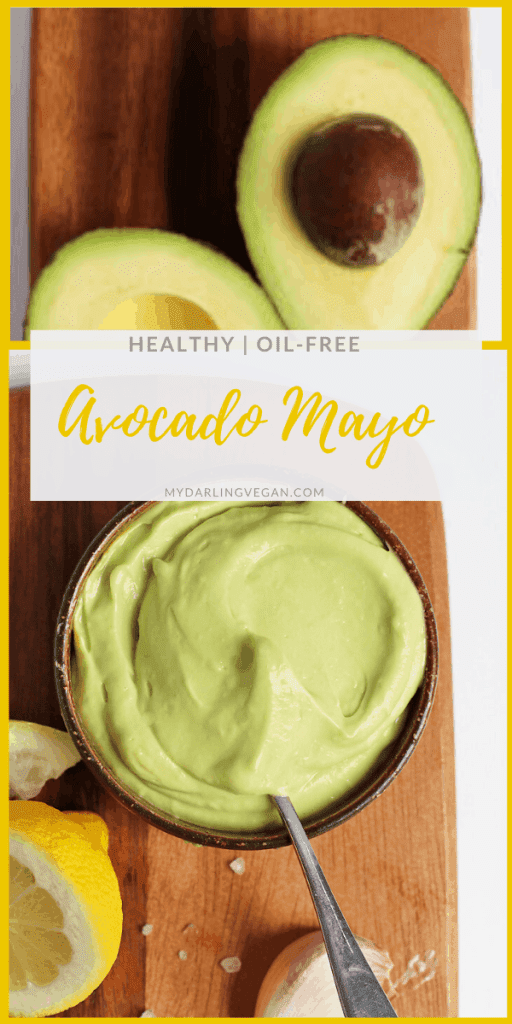 This Avocado Mayo is vegan, soy free, AND oil-free for a healthy, delicious, and creamy spread for sandwiches, salads, and vegetables.