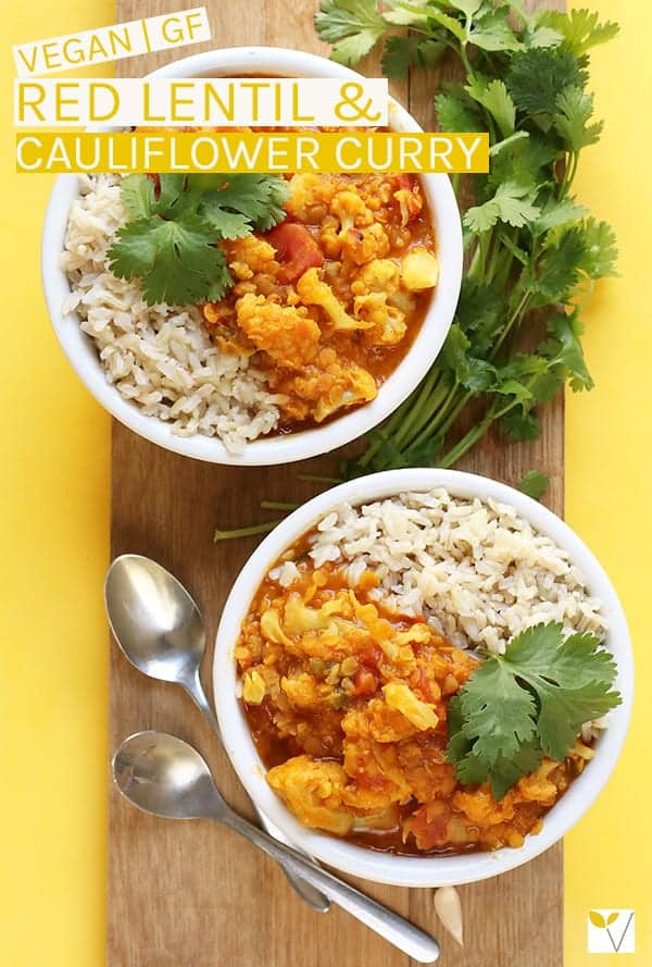 This vegan Red Lentil Cauliflower Curry is a spiced Indian Curry made with lentils and cauliflower for a delicious gluten-free and plant-based meal. #vegan #curry #glutenfree #veganrecipes #dinnerrecipes #curryrecipes #cauliflower #lentils #mydarlingvegan
