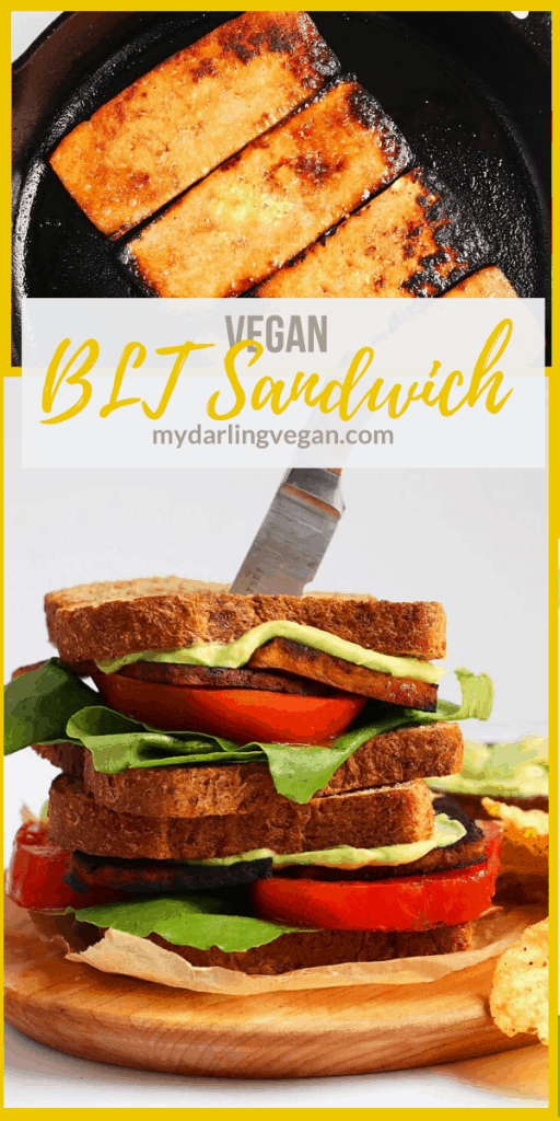 A vegan BLT made with smoky tofu bacon and fresh avocado mayo for a delicious and healthy twist on this classic sandwich. It's a sandwich everyone will love!