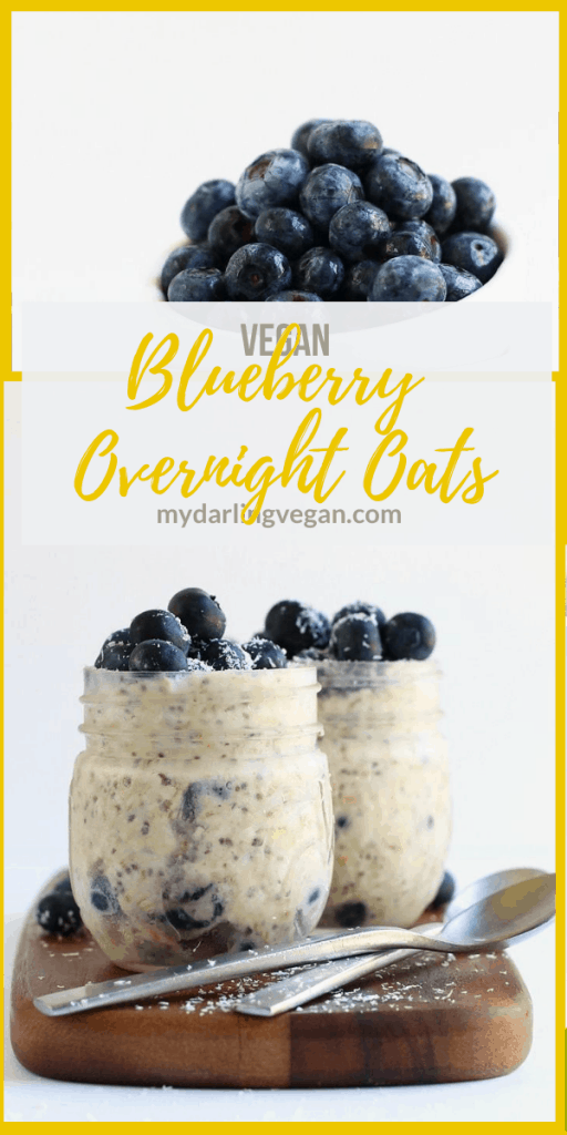 These Blueberry Overnight Oats are made with a blend of coconut and almond milk for a sweet, refreshing, and creamy grab-n-go breakfast. Whipped together in just 5 minutes!