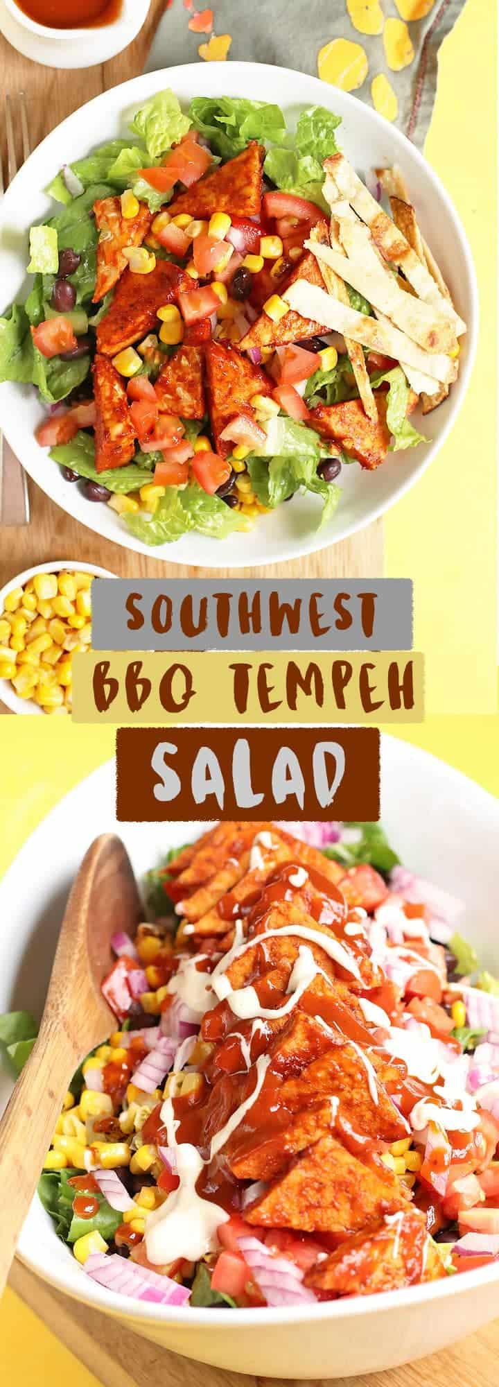 This Southwest BBQ Tempeh Salad is made with baked BBQ Tempeh, fresh vegetables, and homemade ranch dressing for a delicious vegan and gluten-free summer salad.