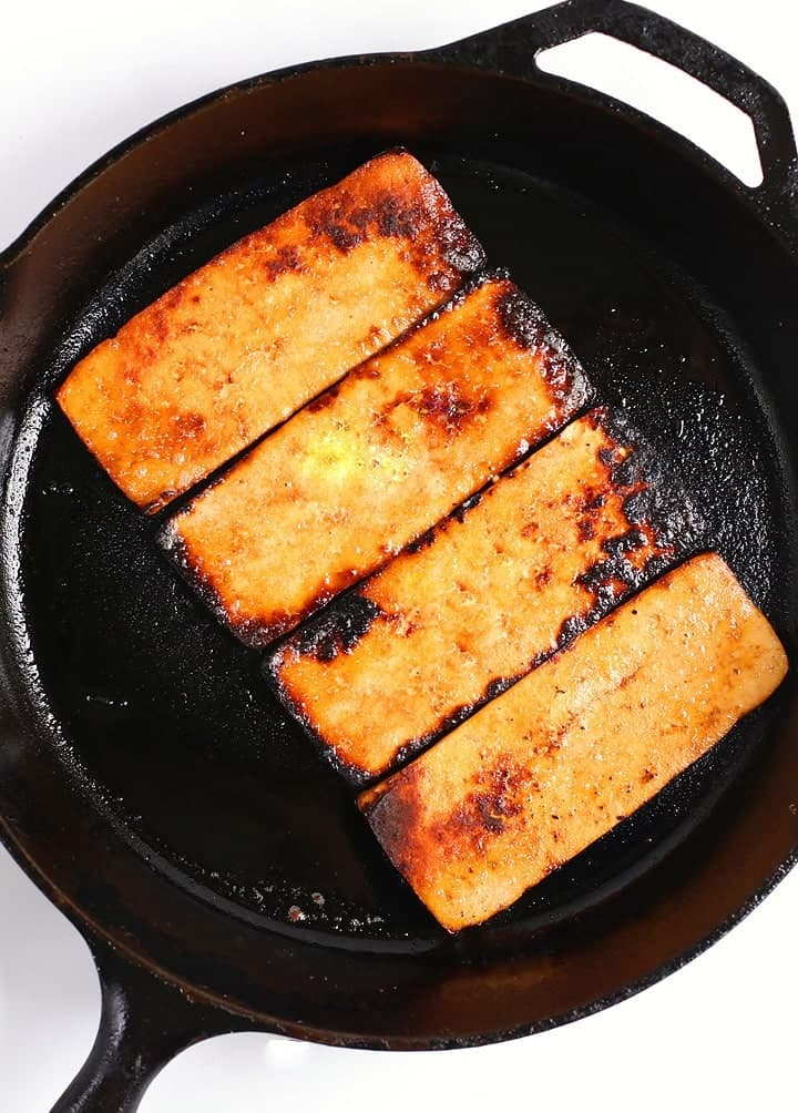 Tofu Bacon in frying pan