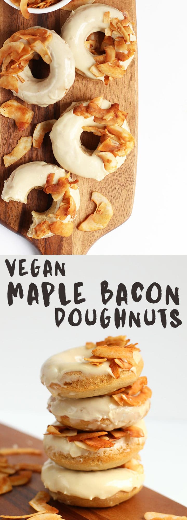 These vegan Maple Bacon Doughnuts are made with a soft baked doughnut topped with sweet maple glaze and coconut bacon for a delicious morning pastry.