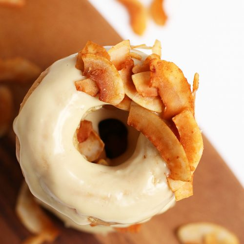 Overhead shot of Maple Doughnuts with Coconut Bacon
