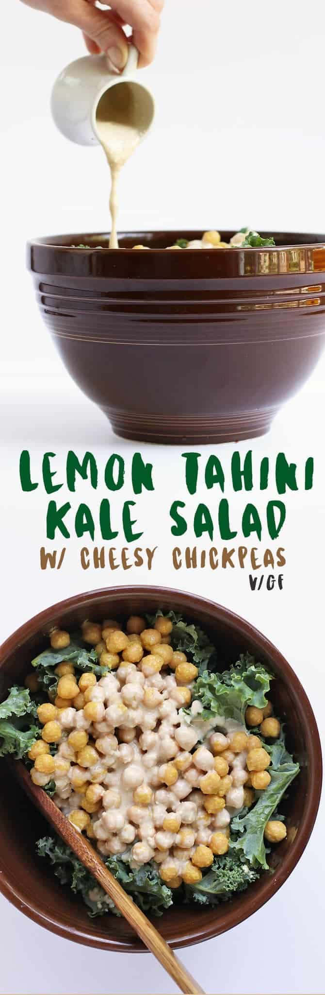 This vegan Lemon Tahini Kale Salad with cheesy chickpeas with the perfect side for all your summer meals.