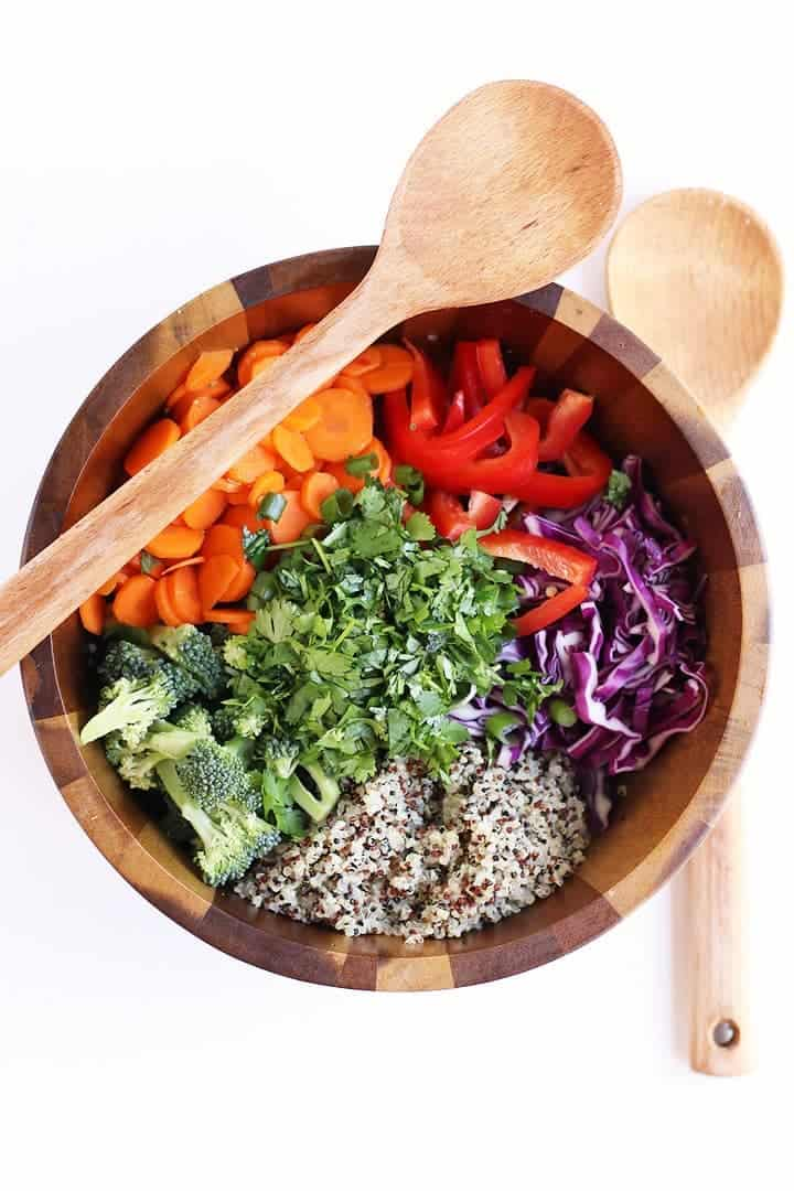 Thai Quinoa Salad in wooden bowl