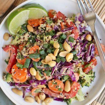 Thai Peanut Salad on a white plate