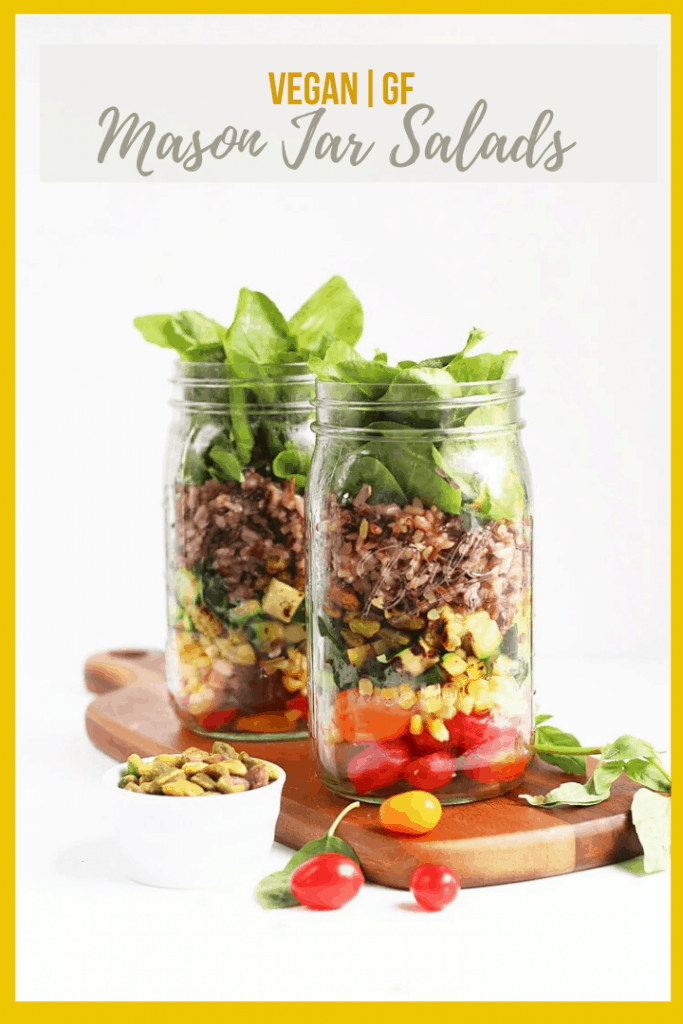 Make lunch easy with these wild rice Mason jar salads, made with late summer vegetables, wild rice, and basil pesto for a delicious and healthy meal.