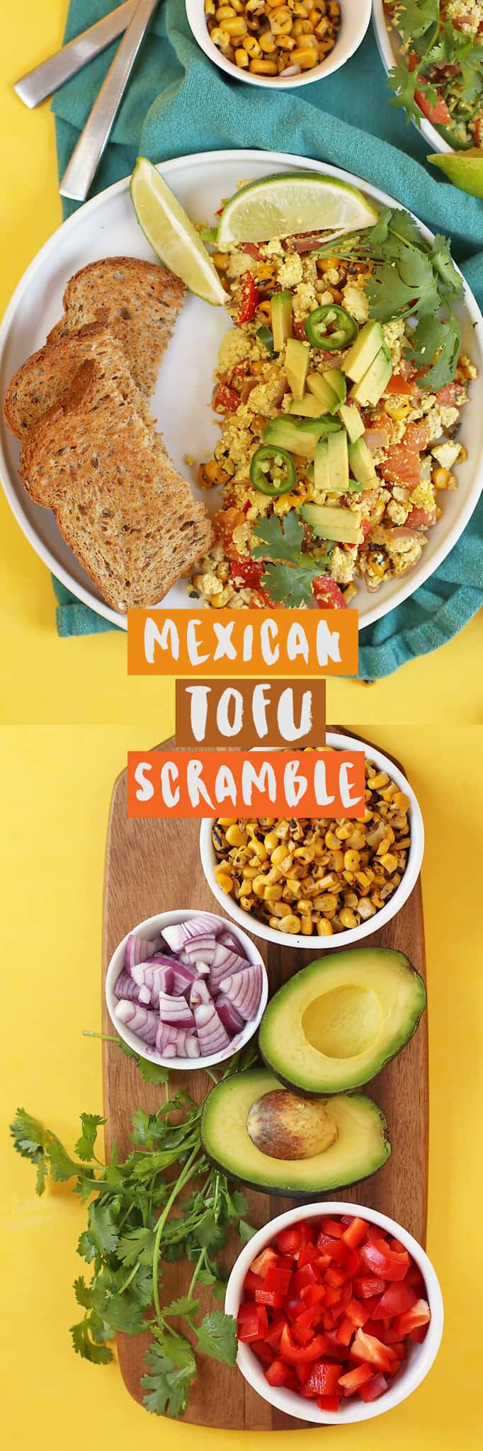 Start your morning off with this vegan and gluten-free Mexica Tofu Scrambled filled with fresh corn, pico de gallo, cilantro, and avocado. Ready in 20 minutes for a quick and satisfying meal.  #vegan #vegetarian #tofu #tofuscramble #eggfree #breakfast #veganbreakfast #veganrecipes #healthyrecipes #mydarlingvegan
