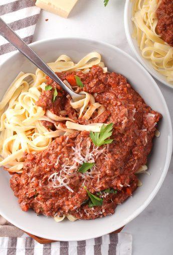 Vegan Bolognese Sauce w/ Mushrooms