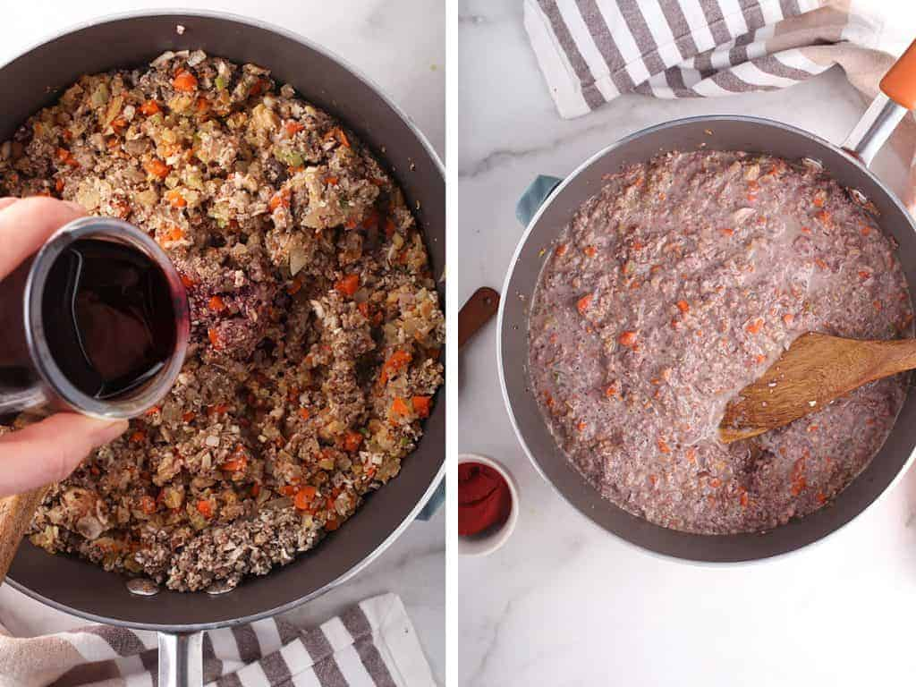 Mushroom bolognese sauce in a large sauce pan