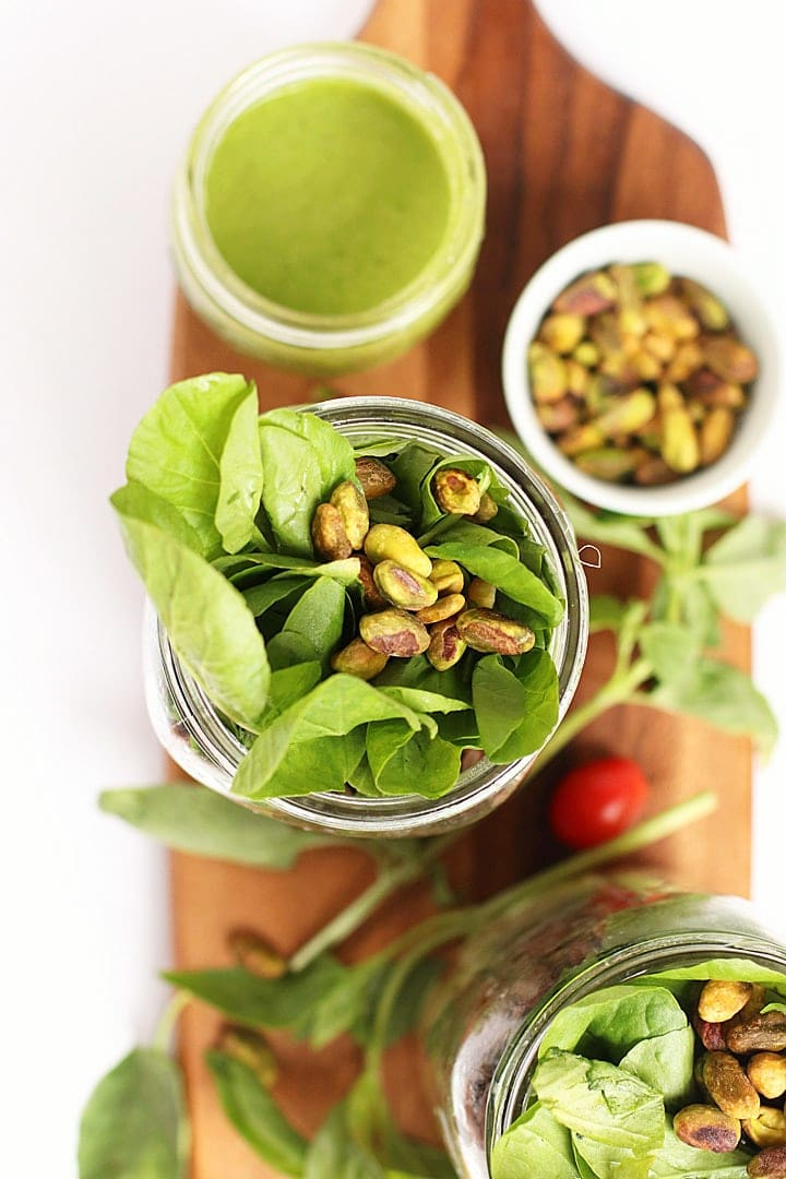Overhead shot Mason Jar Salad