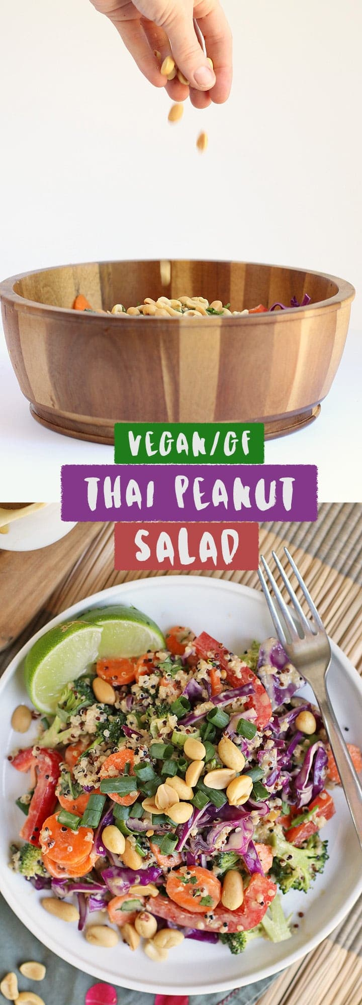 This Thai Peanut Salad with Sesame Peanut Sauce is a hearty vegan and gluten-free meal that is filled with healthy vegetables and delicious flavor.